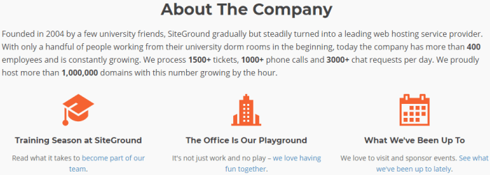 SiteGround Hosting Service Review About the Company Screenshot