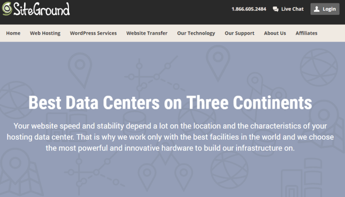 SiteGround Hosting Service Review Data Centers Screenshot