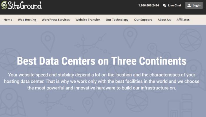 SiteGround Hosting Service Review Data Centers Screenshot