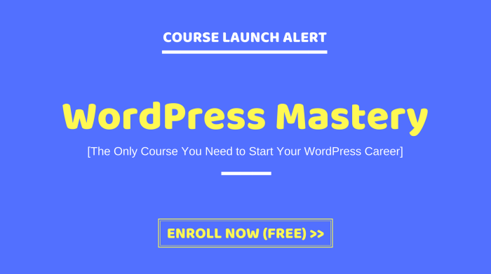 WordPress Mastery Course Launch Alert Image