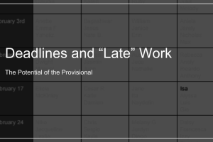 "Deadlines and ""Late"" Work: The Potential of the Provisional"