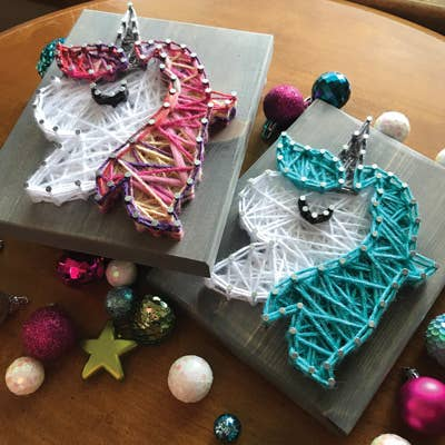 unicorn string art great for gifts for kids ages 8+