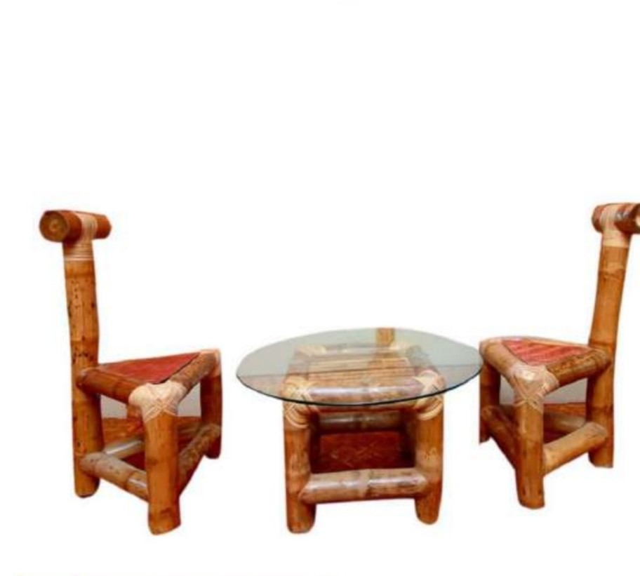 bamboo table with two chairs set