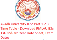 Avadh University B.Sc Part 1 2 3 Time Table 2019 - Download RMLAU BSc 1st-2nd-3rd Year Date Sheet, Exam Dates