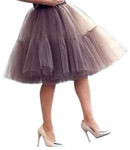 5couches Midi à Princesse courtes genou longueur Tutu Jupe Crinoline pour Prom Party – marron – Medium