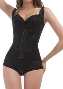 4How® Femme Combinaison Minceur Body Shapewear Camisole Gaine Amincissante, Noir, Taille XXL