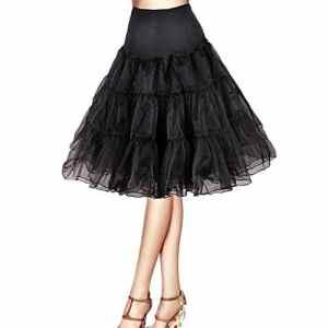 ISASSY Jupon Tulle Rockabilly Femme Jupe Style Années 50 Vintage Petticoat Taille Unique Longueur 67cm/26′ – Noir / Blanc / Rouge / Rose, Noir – Noir, 36/40