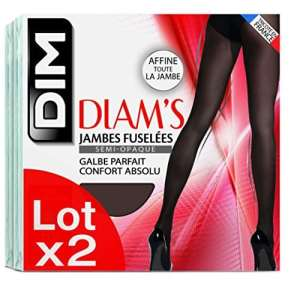 Dim Diam's Jambes Fuselées, Collants, Lot de 2, Femme, 25 DEN, Noir, FR: 1 (Taille Fabricant: 1)
