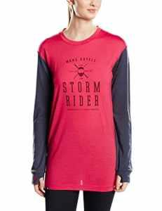 Mons Royale Boyfriend T-shirt en laine mérinos pour femme Manches longues Medium Rose – Hot Pink/Charcoal