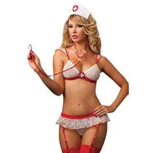 TiaoBug Déguisement en Infirmière Ensemble de Lingerie Féminine Erotique Cosplay Sous-vêtement Sexy Femme (Taille unique, Blanc)