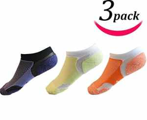 Sunland Chaussettes de sport basses pour femmes Orange+Violet+Vert
