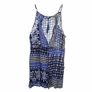 Gazechimp Femme Combinaison Plage Sexy Sans Manches Dos Nu Style Ethnique Robe d'Eté Bohème Mode – Bleu, S