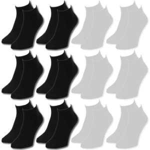 Lavazio Lot de 12 paires de socquettes pour femmes, hommes et adolescents Noir/blanc/couleur – noir –