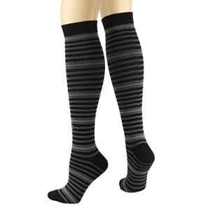 RioRiva 15-20mmHg Contention Bas De Compression Chaussettes de voyage bas Running Sport (L: Femme EU38-42/UK5-9, CSK03L-rayure Classique)