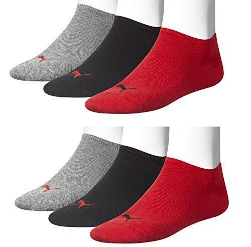 6 pair Puma Sneaker Invisible Socks Unisex Mens & Ladies In 3 Colours – rouge/noir/gris (2x3er Lot), 35/38