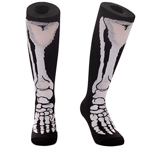 Samson Hosiery® Chaussettes montantes imprimé funky/amusant à la mode, sport/décontractées, impression Jambe de squelette, pour hommes, femmes, enfants, unisexe – Noir – M