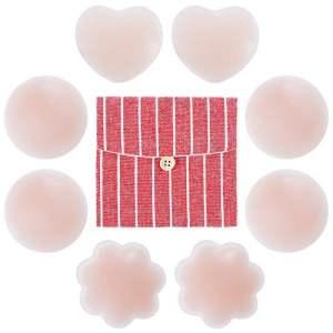 Rovtop 4 Paires Réutilisable Cache-tétons Auto-adhésif Invisible en Silicone Nipple Cover Ronde & Prune & Love-Type Un Sac de Rangement en Coton