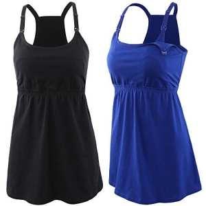 Topwhere 2PACK Maternity Nursing Top Tank Cami Sleep Bra for Breastfeeding and Pregnancy (L, Noir + Bleu)