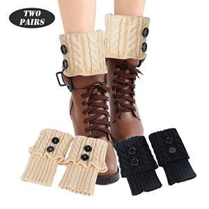 FLOFIA 2 Paires Femme Guêtres Jambières Tressés Tricots Legging Chaussettes Boot Cover Hiver Chaude Bouton Cuissard Taille Unique Noir et Beige