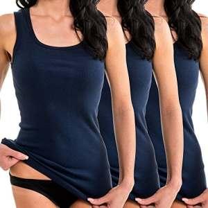 HERMKO 1325 Lot de 3 Longshirts 100% Coton débardeurs pour Femme pour Sens Dessus Dessous, Couleur:Bleu foncé, Taille:38/40 (S)