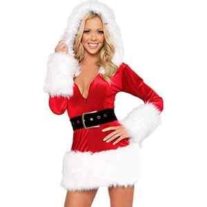 POachers Mère Noël Déguisement Manches Longues Fantaisie Robe Rouge Déguisement Costume de Père Noël Danse Clubwear