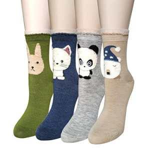 4 paire Femme Chaussettes Filles Multicolore Animal Déguisement Coton Chaussettes Automne Hiver