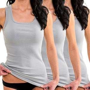 HERMKO 1325 Lot de 3 Longshirts 100% Coton débardeurs pour Femme pour Sens Dessus Dessous, Taille:50/52 (XL), Couleur:Gris
