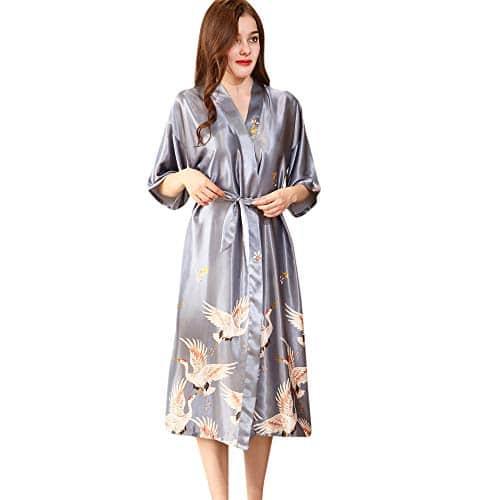 MORCHAN ❤ Femmes Sexy en Soie Kimono s'habiller Babydoll Dentelle Lingerie Ceinture Bain Robe de Nuit Soutien-Gorge sous-vêtements Costume du Corps vêtements de Nuit(XL,U-Gris)