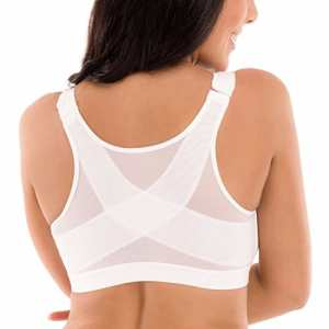 Delimira Femme Soutien-Gorge Fermeture Devant Posture sans Armatures Blanc FR:95D