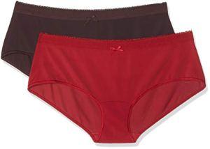 Dim Boxer Les Pockets Microfibre X2, Multicolore (Rouge Imperial/Aubergine Profond 85U), 36 (Taille Fabricant:36/38) (Lot de 2 Femme