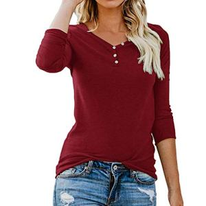 ❤ Femme Mode Casual Boutons Col Rond Couleur Unie Manches Longues Slim Chic Pullover T Shirt Tops Simple Blouse feiXIANG (Rouge,S)