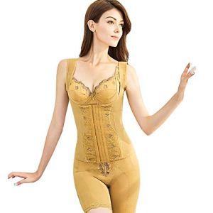 Unbekannt Femme Shapewear Le Maillot de Corps Contrôle de la Taille du Buste Sculptante Body Shaper Amincissant,Gold,XXL