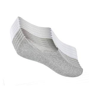 FALARY Chaussettes Basses pour Femmes Hommes 10 Paires Socquettes de Sport en Coton Antiglisse des Décontractées-grisblanc-3942
