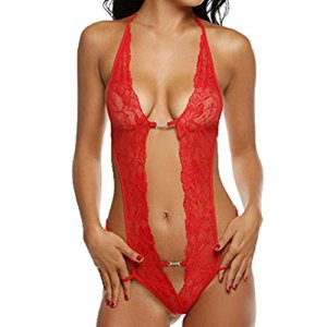 Moonuy _ Nuisette Sexy V-orné Babydoll Dos Nu Body Sexy Babydoll Lingerie Nuisette Dentelle Floral Combinaison Bustier Babydoll (Rouge, L)