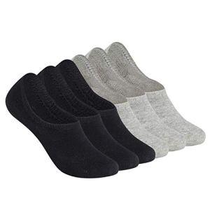 TUUHAW Chaussettes Basses Femmes Hommes Coton Socquettes 6 Paires Noir,Gris 39-42