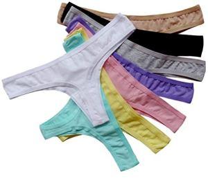 ABClothing 6 Femmes Pack Respirant Strings Coton Bikini sous-Vêtements Varier Couleur Noir, Varie 8 Pack, XL