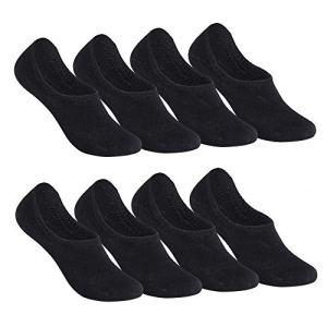 Falechay Chaussettes Basses pour Femmes Hommes 8 Paires Socquettes de Sport en Coton Antiglisse des Décontractées-Noir 39-42