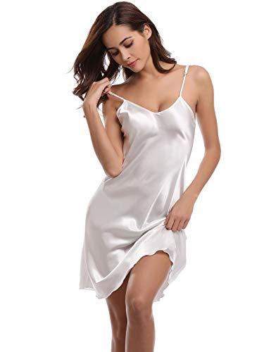 Abollria Chemise de Nuit Satin Bretelles Reglables Nuisette Dentelle Sexy V Robe de Nuit Romantique, White, M
