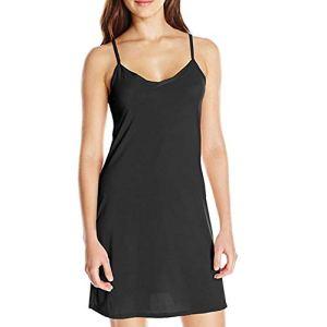 LLZ.COQUE Fond de Robe Femme Longue Coton Jupon sous Robe Bretelles Chemise de Nuit Sexy Slip Elégant Mini Droite Robe