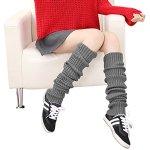 YJZQ Chaussettes de Genou à Tricoter Bas Longues DE 1 Paire Femmes Cuissardes Dessus du Genou en Acrylique Bas au Genou sans Pied Jambière Chaudes pour protéger Les Jambes en Hiver
