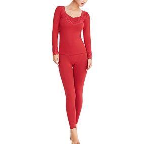 Zzzzy Femme sous-vêtements Thermiques Set T-Shirt Manches Longues Haut Thermique Col V et Pantaloons- Hiver Vêtement de Nuit Élasticité Couche de Base,Red,S