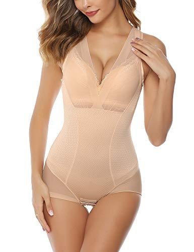 Hawiton Femme Gaine Amincissante Body Gainant Ventre Plat Lingerie Gainante Minceur Combinaisons Sculptantes Beige XXL/Tour de Taille:87-93cm,Poids:80-90kg