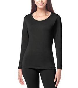 LAPASA Haut Thermique Femme sous-vêtement Maillot de Corps Doublure Laine Polaire Manches Longues Fin et Chaud L15 (10. Noir (Fin/Droit), 40/L)