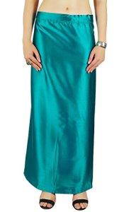 Bleu Solide Saree Petticoat Underskirt Indian Satin Silk Bollywood Doublure Pour Sari