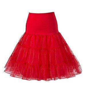 Boolavard 1950 26″ Rockabilly Jupon Jupon Retro Vintage Petticoat Tutu TM (S-M (32-40), Rouge)