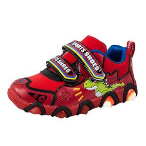 Chaussures de Sport Enfants, Manadlian Basket LED Lumineuse Enfants Garçon Fille Mode Bébé Baskets Basses Motif Dinosaure Casual Pantoufles