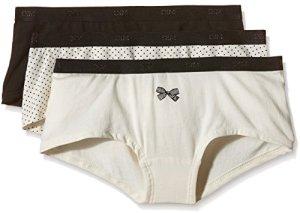 Dim – Pockets Coton – Boxer – Quotidien – Uni – Lot de 3 – Femme – Noir (Lot Noeud Noir) – FR : 44 (Taille fabricant : 44/46)