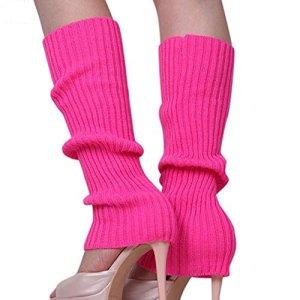 ILOVEDIY 1 paire Jambières Femmes Sexy Cuissard Guêtre Legging Longue Chausettes Chauffe Laine Hiver Chaud Tressé Tricot (rose)