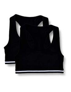 Iris & Lilly Cotton Sporty Top court, Noir (Black), Large, Lot de 2