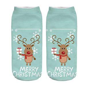 KPILP La Mode Socquettes,Chaussettes Imprimées de Noël en 3D,Chaussettes de Sport Courtes et Décontractées(G,Taille unique)